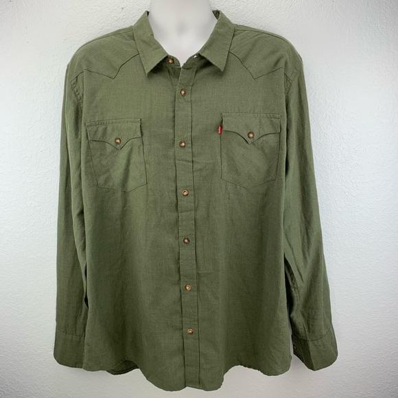 Nwt Levis Olive Green Western Shirt Xxl